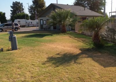 A photograph of the yard in front of the offices at Goldwater Estates RV Park.